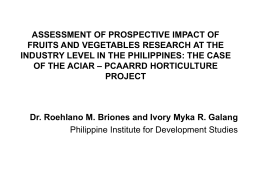 assessment of prospective impact of fruits and