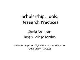 5. Scholarship, tools, research practices