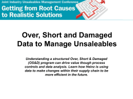 Over, Short and Damaged Data to Manage Unsaleables