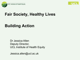 Institute Of Health Equity Presentation July