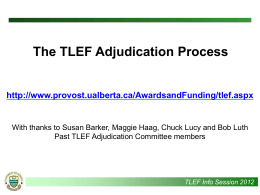 TLEF Information Session Budget Presentation
