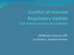 Conflict of Interest Regulatory Update