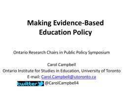 Presentation - 2012 Symposium of Ontario Research Chairs in