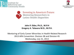 Example of a Mentoring Program – Drs. John Elder and Greg Talavera