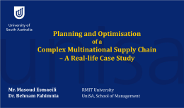 Planning and optimization of a complex multinational supply chain