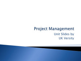 Project Management - UK Versity Online