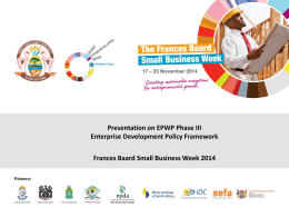 EPWP Phase III Enterprise Development Policy Framework