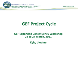 GEF Project Cycle and Programmatic Approach