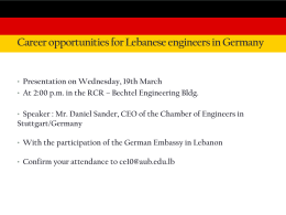 Career opportunities for Lebanese engineers in Germany