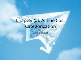 Airline Cost Categorization - Center for Air Transportation Systems