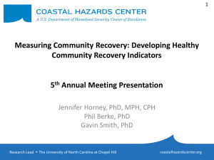 Measuring Recovery Through Healthy Community Indicators