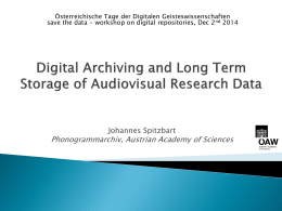 Digital Preservation - Digital Humanities Austria