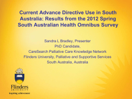 Current Advance Directive Use in South Australia