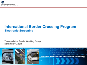 International Border Crossing - Electronic Screening System