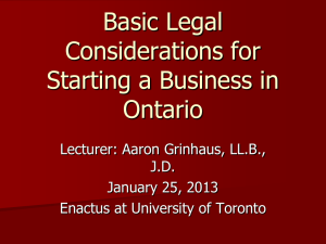 Basic Legal Considerations for Starting a Business in Ontario