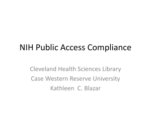 NIH Public Access Compliance - Case Western Reserve University