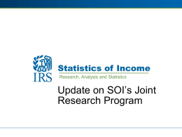 IRS-SOI Presentation on Research Program