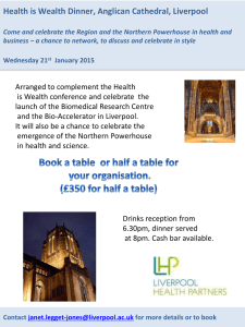 Health is Wealth Dinner, Anglican Cathedral, Liverpool Come and