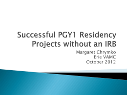 Residency Projects without an IRB