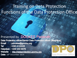 Training on Data Protection