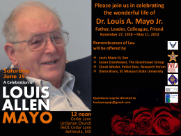 Celebration Service for Lou Mayo