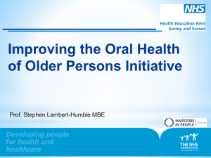Presentation-Improving the Oral Health of Older Persons Initiative