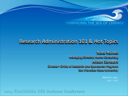Research Admin 101 & Hot Topics I