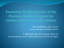 Examining the Effect of the Precision Reading Program for Children