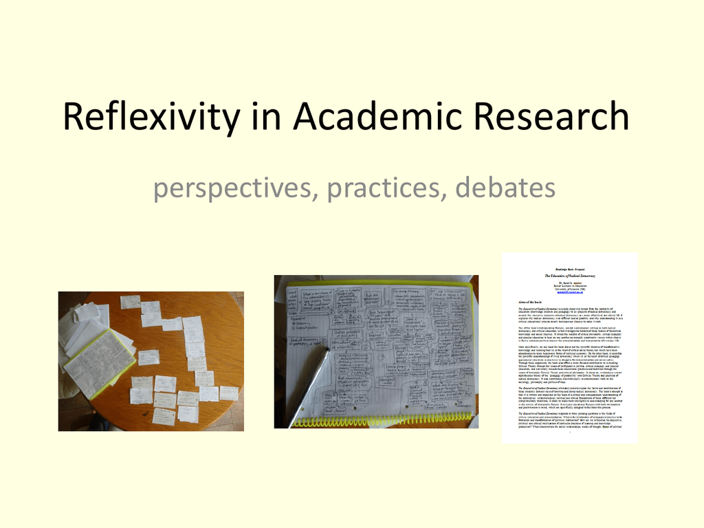 Reflexivity in Academic Research [ PPT]