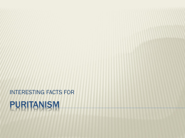 Puritanism Interesting Facts