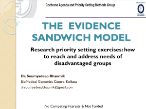 Evidence Sandwich Model - Cochrane Agenda and Priority Setting