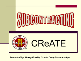 Subcontracting - Office of Research
