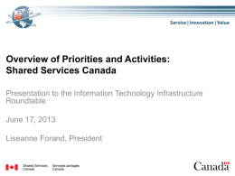 Overview of Priorities and Activities