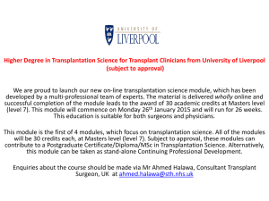 Higher Degree in Transplantation Science for Transplant Clinicians
