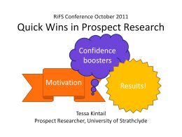 Quick Wins in Prospect Research