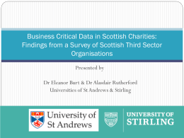 Business Critical Data in Scottish Charities: Findings from a Survey