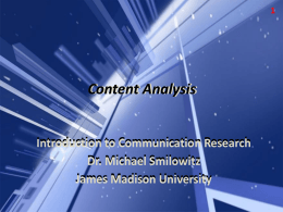 Content Analysis - James Madison University
