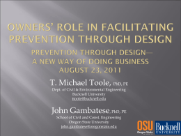 Owners` Role in Facilitating Prevention through Design Prevention