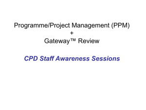 (PPM) + Gateway™ Review CPD Staff Awareness Sessions
