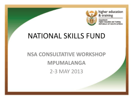 National Skills Fund - Mpumalanga Provincial Government