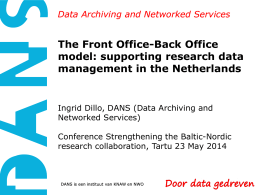 DANS and data management in the Netherlands, Ingrid Dillo