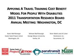 applying a travel training cost benefit model for