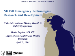 NIOSH Emergency Technologies Research and Development