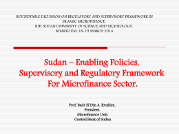 a. Microfinance Policies & Infrastructure