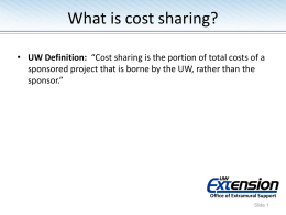 cost sharing - University of Wisconsin