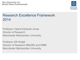 REF Briefing - June 2011 - RIBM - Manchester Metropolitan University