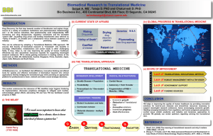 Biomedical Research to Translational Medicine