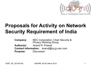 Proposals on Network Security Requirement of India