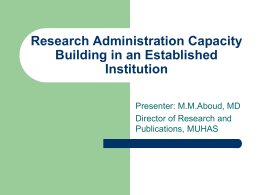 "Research Administration Capacity Building in an ""old"