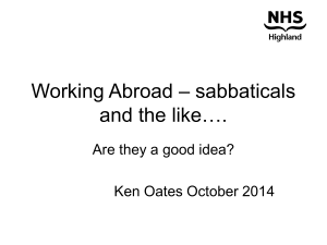 Working Abroad - sabbaticals and the like
